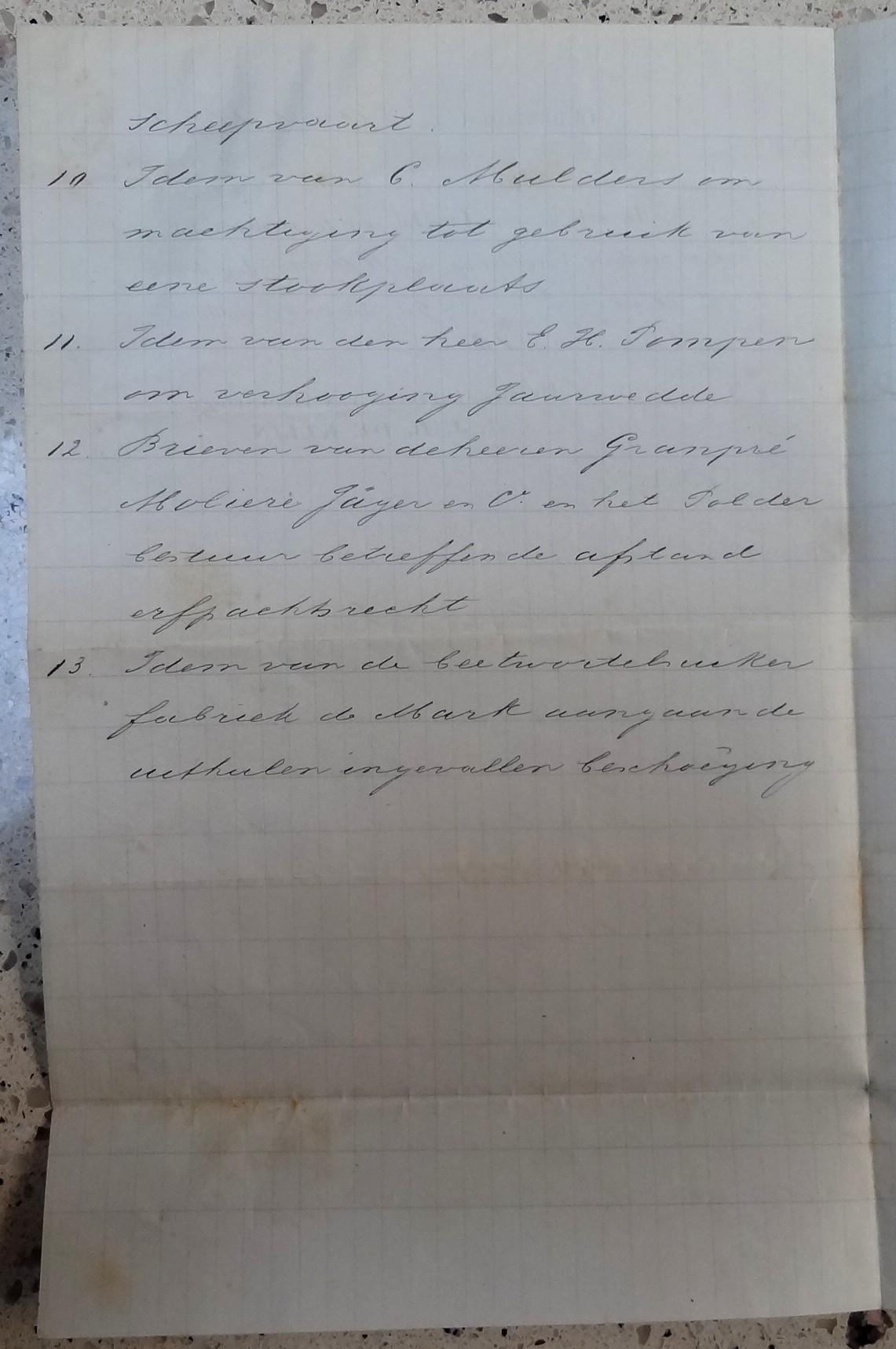 Burgemeester J.J.B. de Klijn, Oudenbosch, briefje